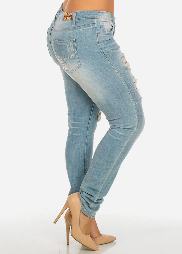 MACHINE JEANS Mid Waist Distressed Jeans (13-19)