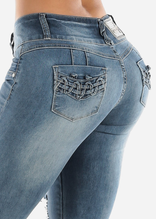 Butt Lifting Torn Faded Skinny Jeans