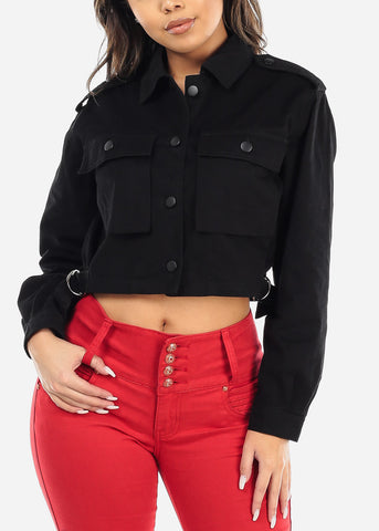 Image of Button Up Black Cropped Jacket