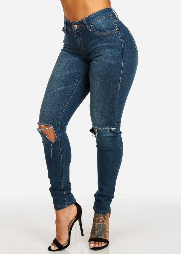 High Waist Slit Knees Skinny  Jeans