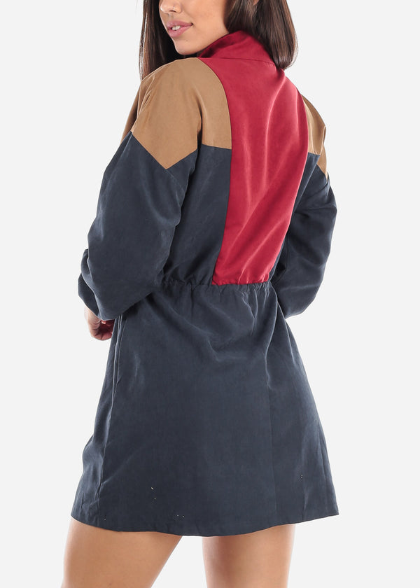 Colorblock Half Zip Up Dress