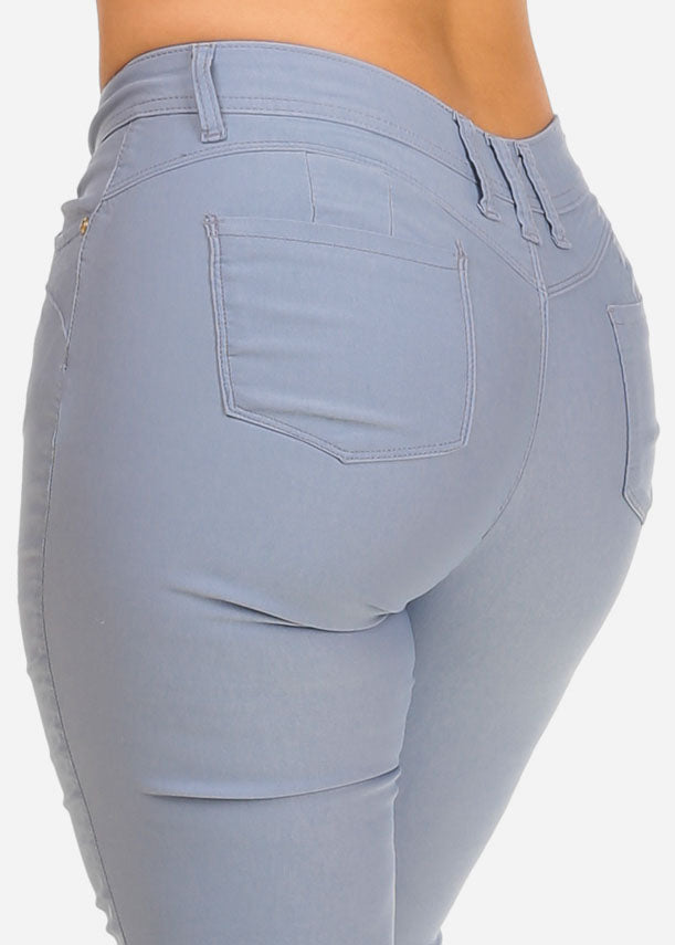 High Waisted Levanta Cola Light Grey Capris