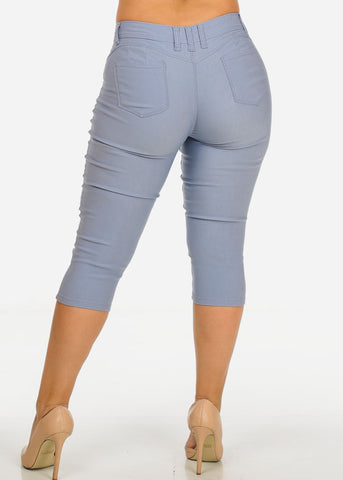 Image of High Waisted Levanta Cola Light Grey Capris
