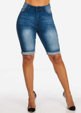 High Waisted Mid Wash Bermuda Shorts