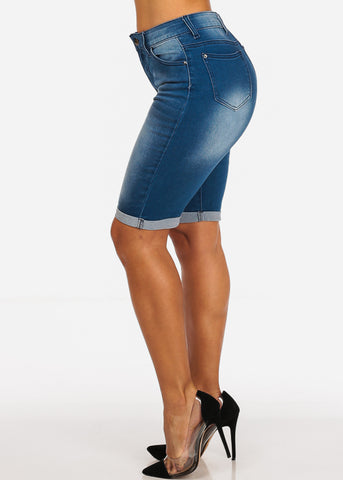 Image of Stylish Trendy High Waisted Mid Wash Capris Denim Jeans
