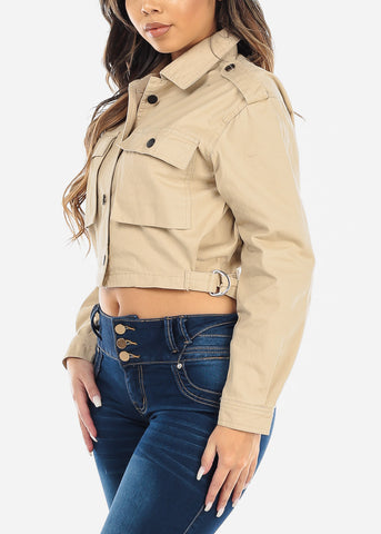 Button Up Beige Cropped Jacket