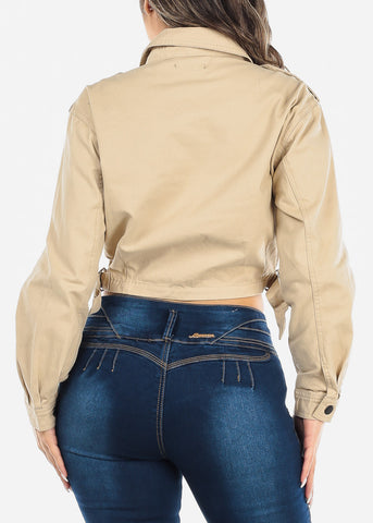 Image of Button Up Beige Cropped Jacket