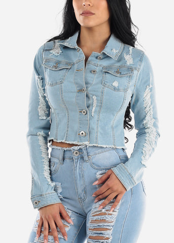 Distressed Back Light Wash Denim Jacket