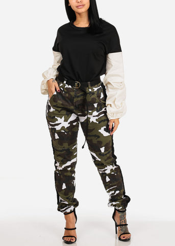 Image of High Rise Camo Print Black Side Stripe Jogger Pants W Belt