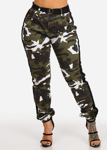 White Camo Print Jogger Pants W Belt