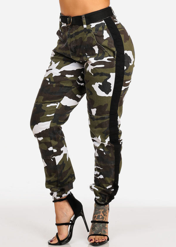 High Rise Camo Print Black Side Stripe Jogger Pants W Belt