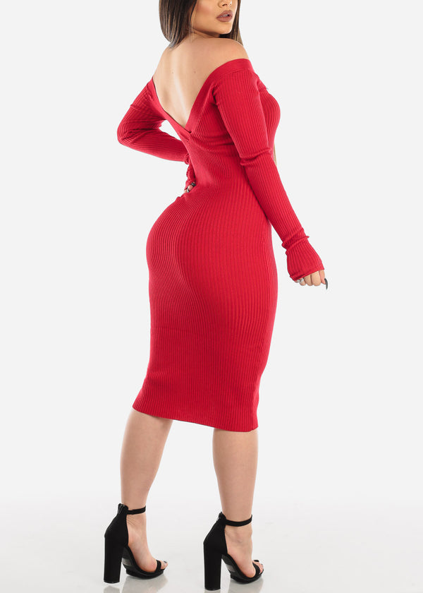 Long Sleeve Dress Twist Front Red