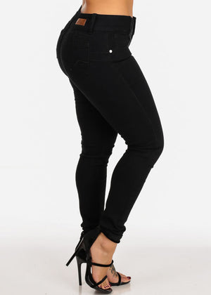 Butt Lifting Solid Black Skinny Jeans