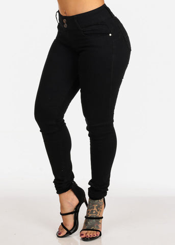 Mid Rise Butt Lifting 2 Button Solid Black Skinny Jeans