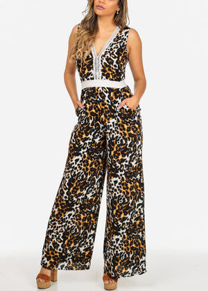 Stylish Cheetah Print Jumpsuit