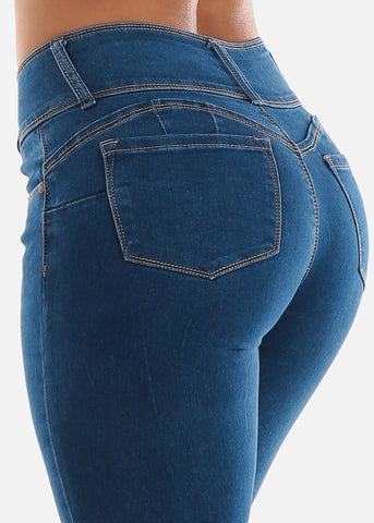 Image of Butt Lifting Med Wash Skinny Jeans