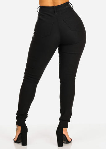 Classic High Waisted Black Skinny Jeans
