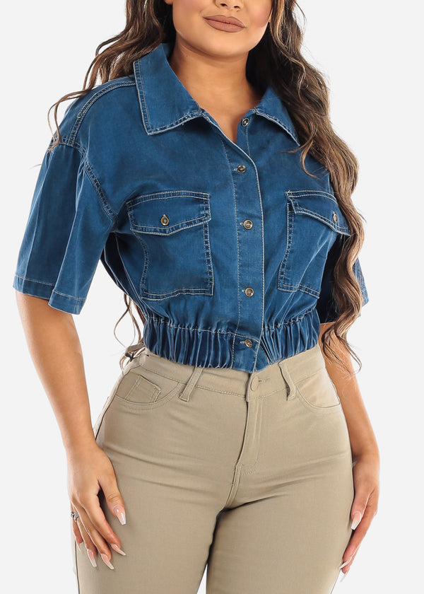 Button Up Med Wash Denim Crop Top