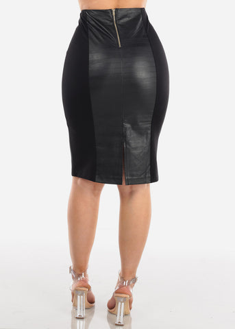 Sexy Partial Pleather Skirt