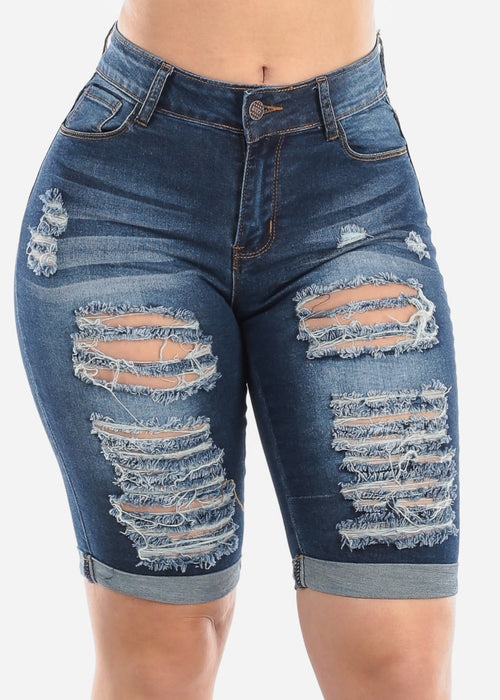 Mid Rise 1 Button Whisker Destroyed Distressed Ripped Dark Wash Bermuda Shorts For Women Ladies Junior
