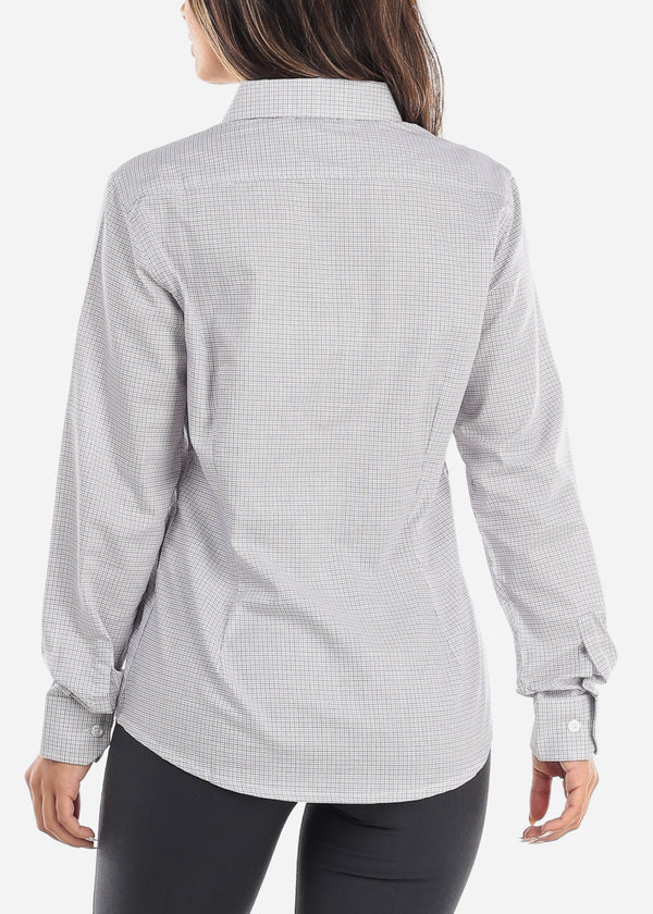 White Checkered Button Down Long Sleeve Shirt