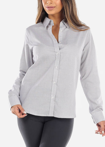 Image of White Checkered Button Down Shirt