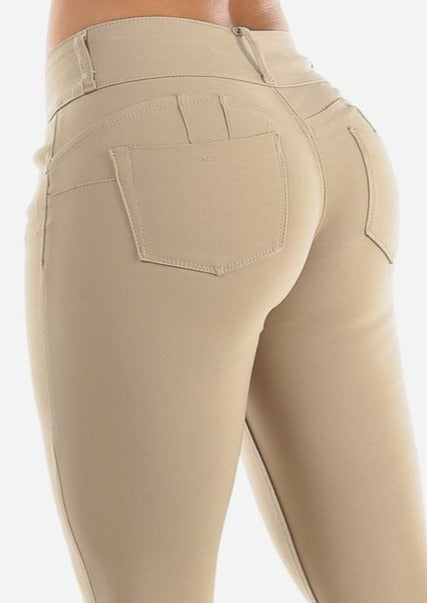 Butt Lifting Khaki Skinny Jegging Pants