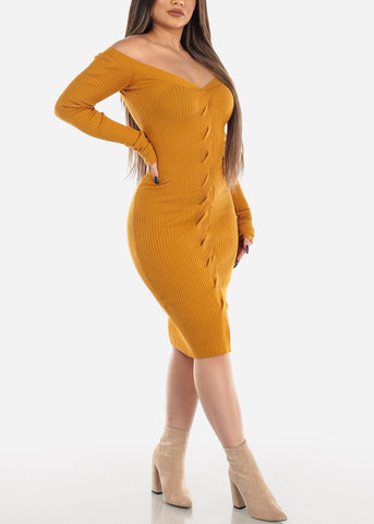 Image of Long Sleeve Dress Twist Front Mustard
