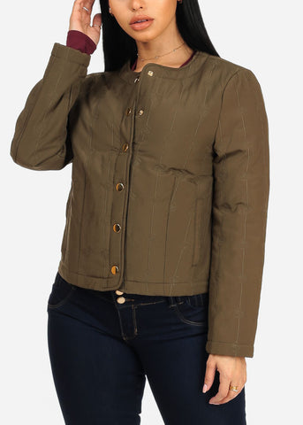 Image of Olive Button Up Jacket
