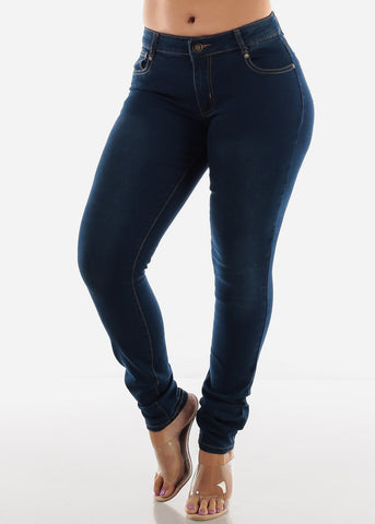 Image of Plus Size Dark Wash Butt Lifting Skinny Jeans