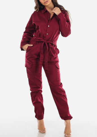 Burgundy Button Up Denim Coveralls