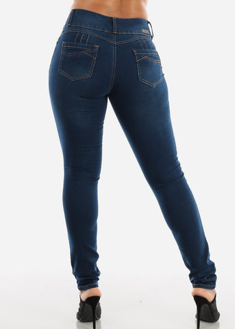 Image of Mid Rise Dark Wash Butt Lifting Skinny Jeans