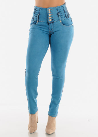 Teal Blue Ultra High Rise Skinny Jeans