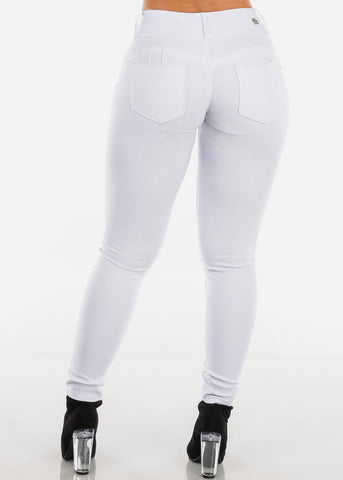 Image of Stretchy Butt Lifting White Skinny Pants