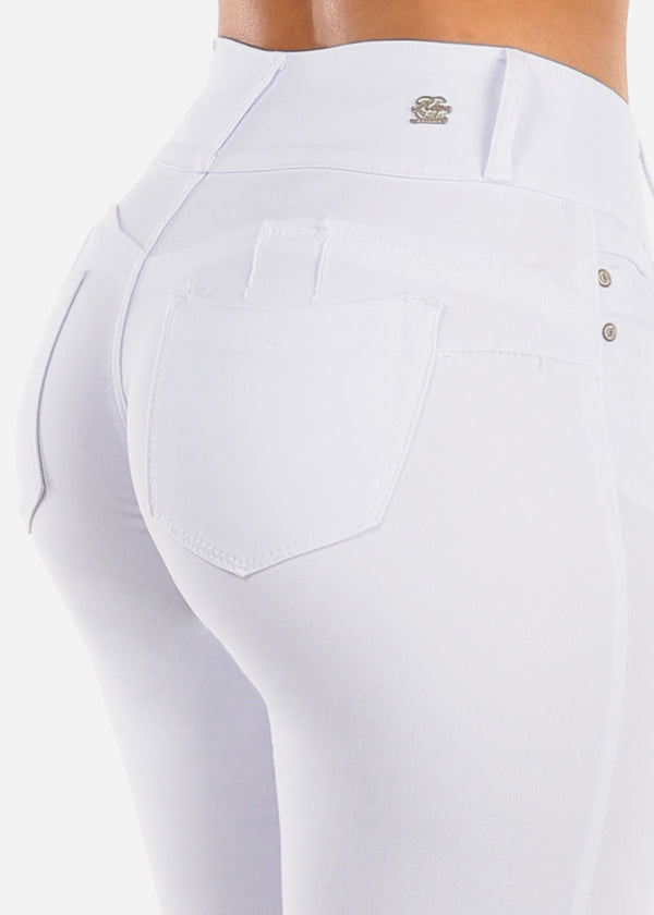 Stretchy Butt Lifting White Skinny Pants