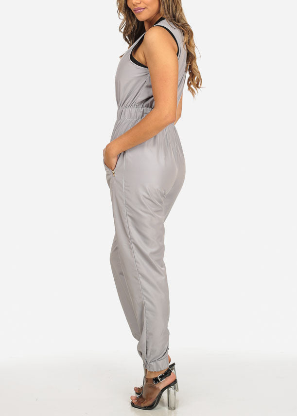 Trendy Zip Up Grey Jumpsuit