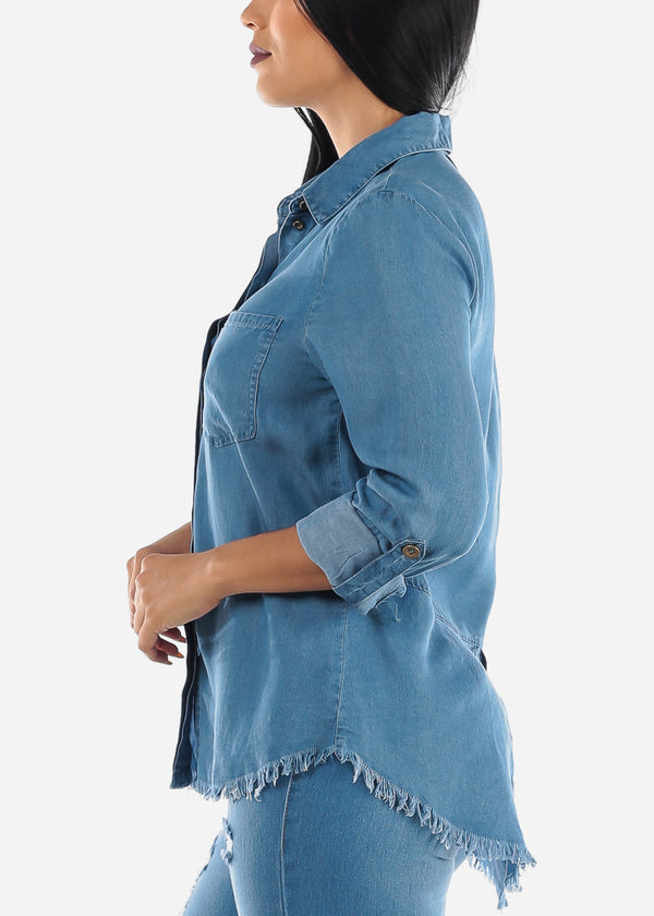 Button Up Med Wash Denim Tunic Top