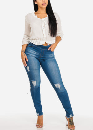 High Waisted Ripped Skinny Denim Jeans