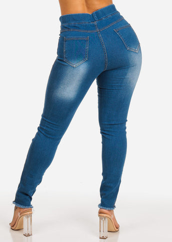 Image of High Waisted Ripped Skinny Denim Jeans