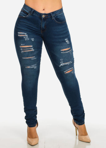 Image of Mid Rise Distressed Denim Jeans