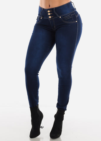 Image of Dark Blue Wash Butt Lifting Skinny Jeans