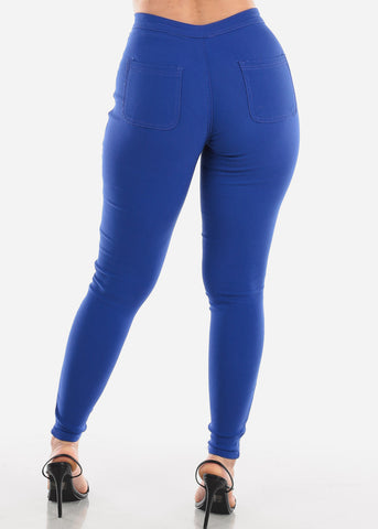 Image of High Rise Royal Blue Jegging Skinny Pants