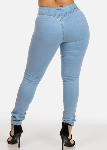 Image of Light Wash Mid Rise Butt Lifting  Levanta Cola Skinny Jeans