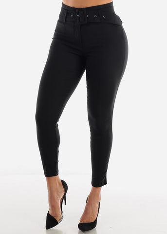 Image of Black Belted Skinny Pants
