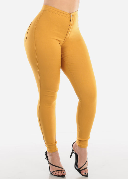 High Rise Mustard Jegging Skinny Pants