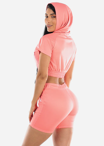 Image of Coral Crop Hoodie & Bermuda Shorts (2 PCE SET)