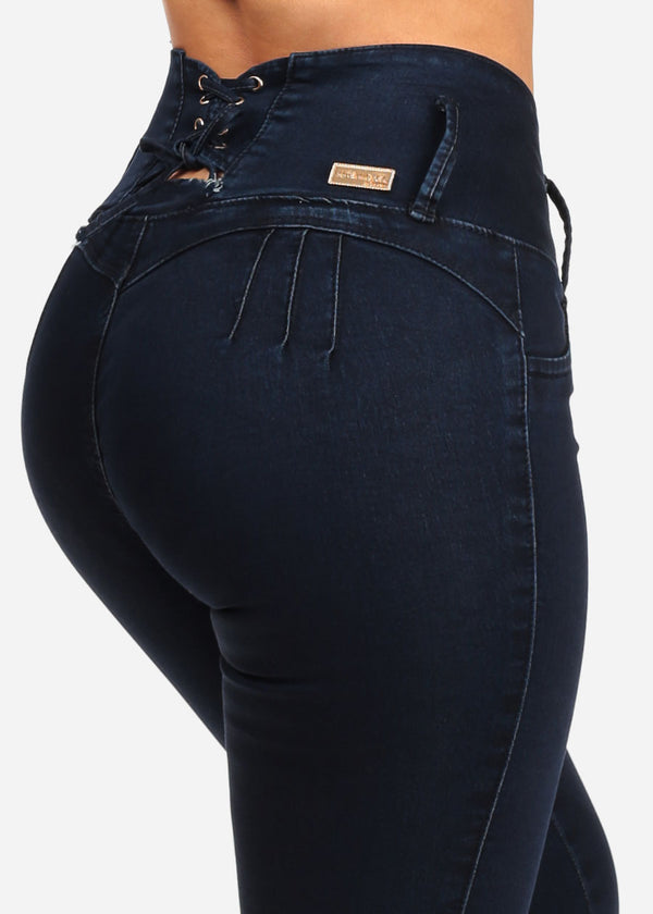 fac039ed10 Women s Junior Stylish Sexy High Waisted Levanta Cola 4 Button Back Lace Up  Detail Booty Lifting Butt Lifting Dark Wash Skinny Jeans