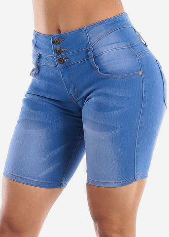 Med Wash Denim Short Overall