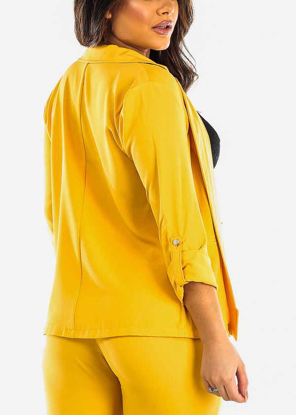3/4 Sleeve Open Front Yellow Blazer