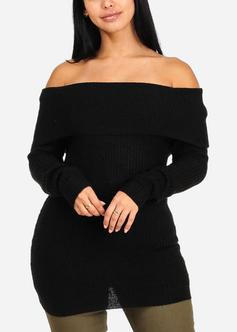 Cozy Off Shoulder Black Knitted Sweater